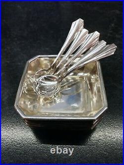 6 Antique Sterling Salt Cellars and 5 sterling salt spoons by E. G. Webster