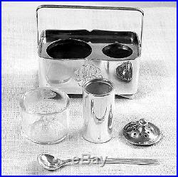 6 Japanese open salt & pepper shaker boxes with handles spoons included sterling