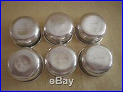 6 Rogers, Lunt & Bowlen Sterling Silver Individual Salt Spoons & unnamed cellars
