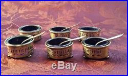 6 Sterling Silver and Colbalt Glass Salt Cellars with 4 Sterling Silver Spoons