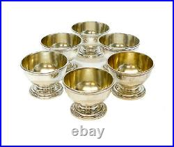 6 Tiffany & Co. Makers Sterling Silver Salt Cellars #22694. Gold Wash Interior
