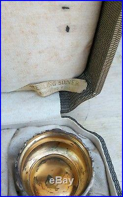 6 Vintage Webster Sterling Silver Repousse Salt Cellars W Spoons + Box