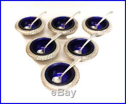 6 Webster Company Sterling Silver & Cobalt Glass Open Salt Cellars with Spoons