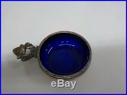 6pcGeorg Jensen Acorn Sterling Salt Cellar& Spoon Set colbolt glass original box