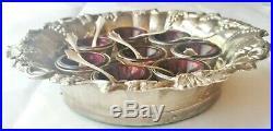 8 Sterling Open Salt Cellars & Shell Spoons Amethyst Liners-Grape Design Holder