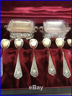 800 Sterling Silver Glass Footed Salt Cellar & Spoons, Set of 6! Gold Wash 0420