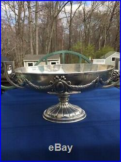 800 silver Ram Head Compote With Garland Wrapping And Ram Head Handles