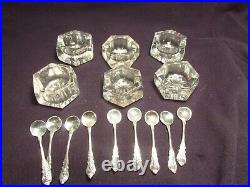 9 Matching Sterling Silver Salt Spoons with 6 salt cellars