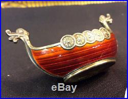 925 Norway Sterling Silver & Guilloche Enamel Salt Cellar. Viking Ship