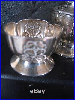 925 Sterling Mexico SANBORNS 4PC SALT SHAKERS & MATCHING CELLARS