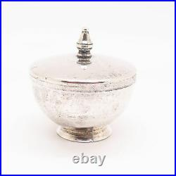 925 Sterling Silver Antique Salt Cellar With Lid