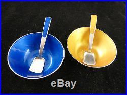 A. Michelsen Denmark Sterling Enamel 4 pc Boxed Salt Cellars and Spoon Set