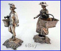 A magnificent pair of cast solid silver Figural salt-cellars, Hanau, Germany c. 1