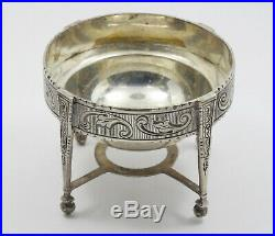 ANTIQUE 18c. CONTINENTAL CHASED PATTERN STERLING SILVER SALT CELLAR