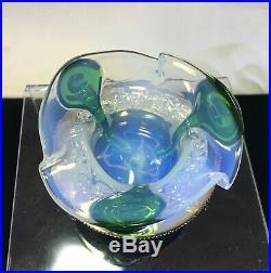 ANTIQUE ENGLISH OPALINE Art Glass Open SALT CELLAR Silver Pltd Holder STUART SNS