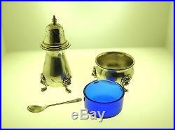 ANTIQUE ENGLISH SILVER SALT CELLAR WithCOBALT BLUE GLASS INSERT AND SALT SHAKER