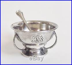 Antique Gorham Sterling Silver Norfolk Pattern Open Salt Cellar Bowl Dish Spoon