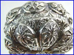 ANTIQUE INDIAN SILVER CUPS / SALT CELLARS FIGURAL SNAKE COBRA FISH PALM sterling