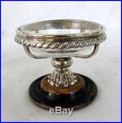 ANTIQUE SILVER SALT CELLAR PEDESTAL WOOD BASE HAND BLOWN LINER c. 1850