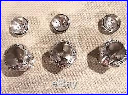 Antique Webster Sterling Silver & Glass Open Salt Cellar Set Cups Spoons Shakers