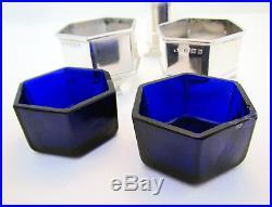 ART DECO 3-Piece Solid Sterling Silver Salt Cellar Pepper Pot Shaker Cruet Spoon