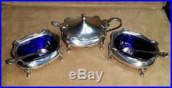 Adie Brothers Ltd, STERLING SILVER serving pieces with cobalt blue inserts
