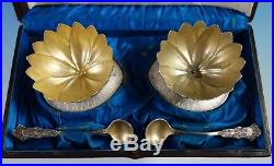 Alhambra by Whiting Sterling Silver Salt Set 4pc 2 Cellars 2 Spoons (#2700)