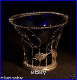 Andrew Fogelberg Antique Sterling Silver & Blue Glass Salt Cellar Ca. 1771