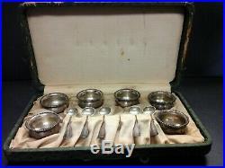 Antique #103 Sterling Silver 6 Salt Cellars & 5 Sterling Spoons In Original Case
