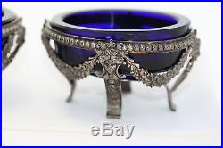 Antique 1800's Imperial France Froment Meurice Sterling Silver Salt Cellar Blue