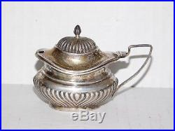 Antique 1811 London George III Sterling Silver Salt Cellar Server Cobalt Glass