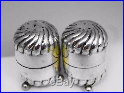 Antique 1895 Solid Silver Hirons And Plante Salt And Pepper Cellars Shakers