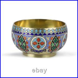 Antique 19 Th Russian Imperial Silver 84 Enamel Cloisonne Silver Gold Salt