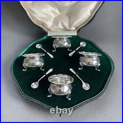 Antique 1912 Mappin & Webb Sterling Silver Salt Cellars And Spoons Boxed