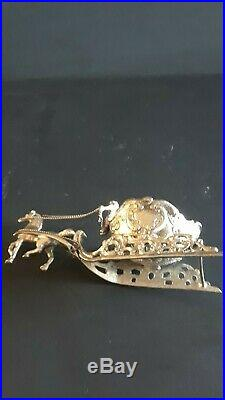 Antique 800 German Silver Cherub Sleigh Horse Salt Cellar Hallmarks Figural