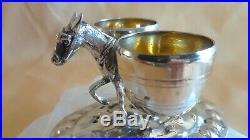 Antique 800 Silver Donkey Toothpick Spice Holder Gold Wash Sign Figural Baskets