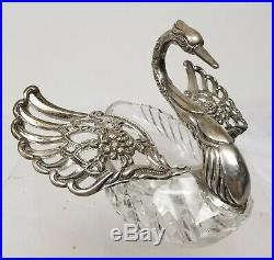 Antique 835 Marked Silver and Cut Glass Swan Form Master Salt Cellar