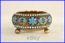 Antique 84 Silver Russian Enamel 3 Footed Open Salt Cellar Dip Dish 1898-1908