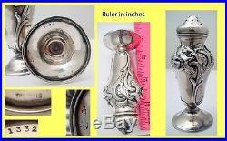Antique Art Nouveau Pair Matching Salt Pepper Shakers Silver WB Kerr & Co #5070
