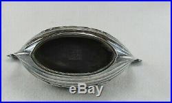 Antique CESONS Sweden Sterling Silver Cobalt Blue VIKING SHIP Salt Cellar