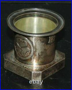 Antique Chinese Export Silver Salt Cellar, Lotus Leaf Design Glass Insert Marked