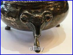 Antique Coin Silver 900 figural footed Ram's head Open Salt Cellar Bowl