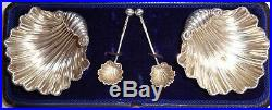 Antique Dated 1901 Cased Set 4pc Sterling Silver Salts & Ss Spoons English Shell