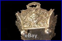 Antique Dutch 800 Silver Figural Repousse Cupid Scene Salt Cellar A96557