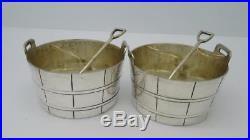 Antique English Silver Plate Novelty Barrel & Shovel Salt Cellars Potsc 1900