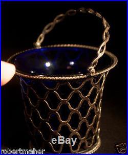 Antique English Silver and Blue Glass Salt Cellar Ca. 1767 MAKE ME AN OFFER