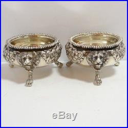 Antique English Sterling Silver Pair of Open Master Salts George II Lion's Head
