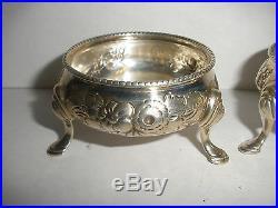 Antique English Sterling Silver Robert Harper Footed Salt Cellars repousse