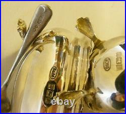Antique English Sterling Silver Salt Cellar Pot/Pepper Shaker/Spoon 1941 Solid
