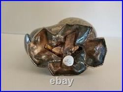 Antique Engraved Silver Salt Cellar Hinged Lid Shell on Rocks Design Floral Leaf